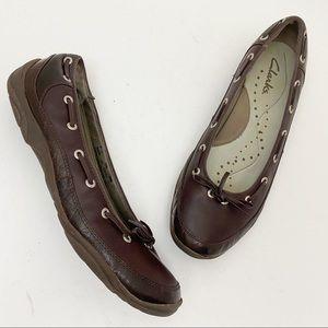 CLARKS Brown Leather Boat Shoe Ballet Flats